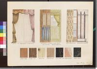 Damask with sheer curtains and other window treatments, and examples of wood and marble.