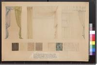 Practice drawing of draperies, curtains, and examples of wood and marble