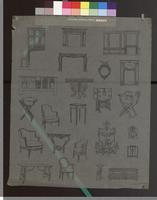 Small drawings of different styles of chairs, tables, etc.